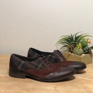 Shoes - Italian Leather and Plaid Oxfords